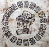Pic 8: The 18 'month' cycle of 20 days (plus 5 unlucky days) in the Maya solar calendar or 'haab''- bark painting based on original design thought to be by Jean Charlot
