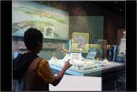 ...and on a model of Tenochtitlan