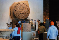 The Aztec Sunstone at home in the Mexica Hall of the Museum