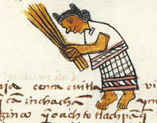 "Pic 2: Sweeping, to clear away 'tlazolli', or ""filth,"" was an act of religious devotion as well as housekeeping. Primeros Memoriales, f. 255v."