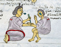 Pic 7: A mother prickes her daughter with a maguey thorn to punish disobedience. Codex Mendoza, f. 59r