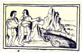 Pic 10: Moral danger was compared to rocky cliffs and raging rivers. Florentine Codex Book 6, 23v.