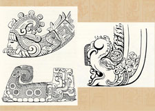 'Trans-Pacific Resonances': Aztec fire serpent from the Sunstone (top L), Maya carving from Altar A at Copán, Honduras (bottom L), 'Makara' dragon from the ruins of Borobodur, India (R)