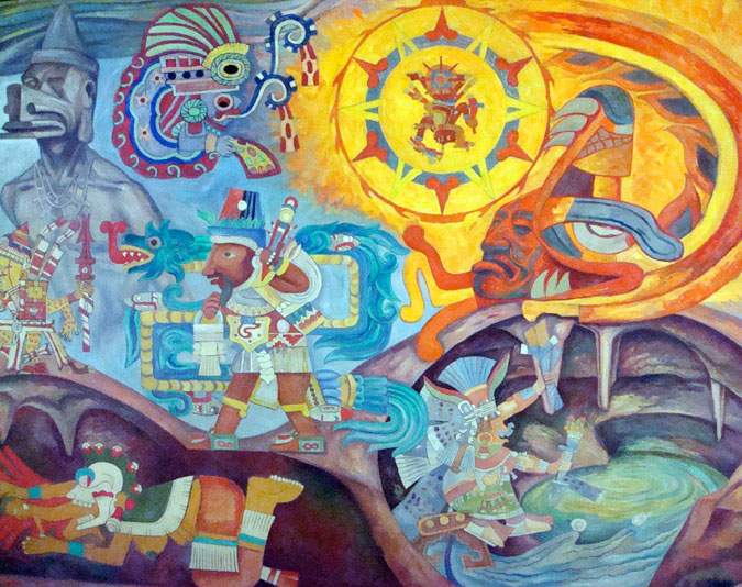 Basic aztec facts aztec gods for Aztec mural painting