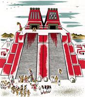 Twin towers: dedicated to rain god Tlaloc (L) and war god Huitzilopochtli (R)
