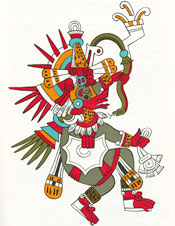 Quetzalcóatl, in his disguise as the wind god