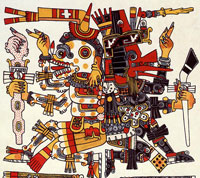 Pic 2: Mictlantecuhtli back to back with Quetzalcoatl, based on the Codex Borgia