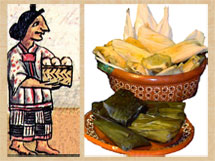 Pic 2: An Aztec woman bearing tamales, and the real thing...