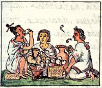 Pic 9: Aztecs feasting, Florentine Codex