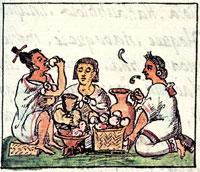 Pic 9: Aztecs feasting, Florentine Codex