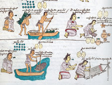 Pic 2: The Codex Mendoza shows parents teaching their children practical jobs