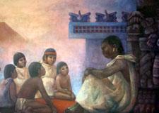 Pic 4: Children with a teacher outside an Aztec 'calmecac' academy