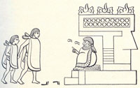 Pic 5: An Aztec father delivers his son to the 'calmecac' school