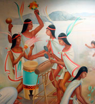 Pic 7: Playing music, singing and dancing together was the only chance in the day for Aztec youngsters to really have fun