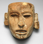 Pic 5: Wood mask with traces of gold leaf, paint, and hermatite, 20.5 cm., The Art Museum, Princeton University