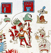 Pic 12: Moteuczoma Xocoyotzin going into battle against Toluca dressed as Xipe Totec and wearing a flayed skin, detail from Codex Vaticanus A (Codex Ríos), folio 83v