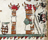 Pic 13: Masked bundle of burning sticks, Mixtec, detail of Codex Vindobonesnsis (Codex Vienna), folio 26