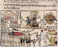 Pic 14: Death and burial of a P'urépucha 'caçonci' (ruler), 'Relación de Michoacán', folio 39