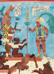 Pic 2: Reconstruction painting of the North Wall of Room 2, Bonampak, Mexico, by Heather Hurst and Leonard Ashby
