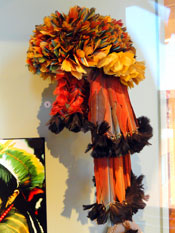 Pic 5: Macaw and toucan feather headdress, Munduruku people, Brazil; Peabody Museum, Harvard University