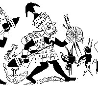 Pic 11: Drawing from a Moche bottle. A warrior carrying weapons has a hawk on one side, two hummingbirds on the other. Drawing by Donna McClelland