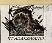 Pic 6: Glyph for the city of Cholula. Map of Cholula (detail)