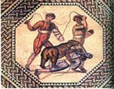 Pic 9: Bear devouring a criminal. Roman mosaic