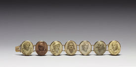 Pic 4: Mid-19th century Italian bracelet bearing cameos in raised relief of the Olympic gods. The seven gods depicted are the gods of the planets in correct order to their relationship to the seven days of the week