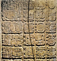 "Pic 8: Palenque Temple of the Cross inscription: centre columns include glyphs for ""13 bak'tuns completed"" following the Calendar Round glyphs of 4 Ajaw 8 Kumk'u on that date - 13 bak'tuns prior to December 21, 2012 (Calendar"