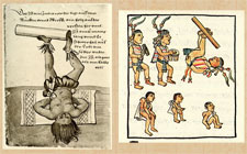 Pic 5: Drawing by Christoph Weiditz of an Aztec log juggler (fol. 15, L) and depiction of musicians and log juggler at the Aztec royal court, Florentine Codex Book 8 (R)