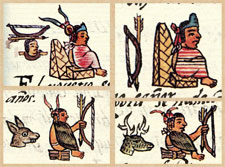 Pic 6: Examples of Aztec rulers sporting their skill with the bow-and-arrow, Florentine Codex