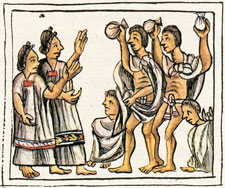 Pic 9: Annual Aztec 'pillow-fight', Florentine Codex Book 2