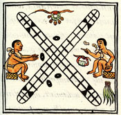 Pic 12: The game of 'patolli', Florentine Codex Book 8, showing the game board, four bean dice, and several precious objects (copper bells, a jade bead and quetzal feathers) that are being wagered