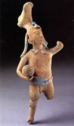 Pic 16: Late Classic period Maya ballplayer wearing a deer headdress. The ceramic figurine is about 10 inches tall.