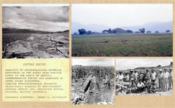 Pic 2: Cerro Portezuelo: one of HBN's reports from the site (L); the main mound of the site in 1967 (top R); two photos of the site from the 1957 season: facing East (bottom centre), team members (bottom R)