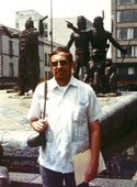 Pic 3: HBN in front of the statue commemorating the arrival of the Mexica from Aztlan, Zócalo, Mexico City, 1989