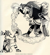 Pic 5: 'Montezuma offering incense to Quetzalcoatl' [in his guise as Black Ehecatl] - one of the illustrations by Keith Henderson, from 'The Conquest of Mexico' by W.H. Prescott, that sparked HBN's imagination at a young age