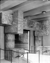 Pic 6: Plaster cast of the Plumed Serpent portal from Chichén Itzá's Temple of the Warriors, shown in place inside the main entrance of the San Diego Museum of Man, 1915. This replica captivated HBN as a boy growing up in San Diego