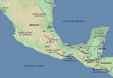 Pic 2: Mesoamerica map showing selected languages, cities, and archaeological sites