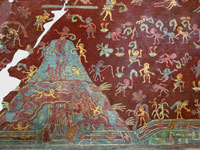 "Pic 5: One of the earliest depictions of ""Sustenance Mountain"": the ""Paradise of Tlaloc"", a painting inside a cave under the Temple of the Sun in Teotihuacan, c. 100BCE-200CE"