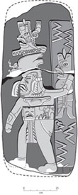 Pic 6: Drawing of a 3000 year-old Olmec carved monument from Ojo de Agua showing a ruler in striding lightning deity position. Zigzag lightning bolts emanate from the were-jaguar
