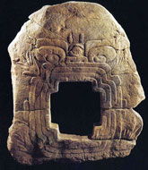 Pic 8: Chalcatzingo Monument 9, representing a cave entrance zoomorphically depicted as the mouth of the mountain lord/lightning deity's animal familiar or co-essence, which in some cases is a serpent, lizard or crocodile and in others a jaguar