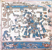 Pic 9: Aztec manifestation of Tlaloc from the Codex Laud, folio 2. Tlaloc, the Aztec lightning/rain deity, is striding with a lightning-serpent in his right hand and a stone axe in his left