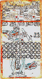Pic 11: Maya Raingod and Lightning deity Chaak, Chac, or Chajk, shown on p. 16 of the Madrid Codex. Known as God B in the Maya or codices, Chaak is usually depicted with a reptilian visage, a long often down-curling snout, and two curved fangs