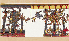 Pic 12: Helpful (left) and destructive (right) aspects of the central Mexican rain deity, in the Codex Borgia. On the left are personified maize ears growing happily, watered and blessed by the god. On the right, a maize crop is destroyed by the same god