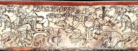 Pic 13: Chaak is on the left side of this illustration, on a painted Late Classic Maya ceramic vessel. He holds an axe in one hand. Serpent belly plates appear on his legs, and in front is an anthropomorphic jaguar baby, apparently ready to be sacrificed