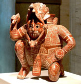 Pic 15: Mixtec rain/lightning deity, Dzahui, depicted on a Mixtec style Post-Classic polychrome ceramic vessel from El Chanal, Colima. Vessel is in the Kimbell Art Museum, Fort Worth, Texas