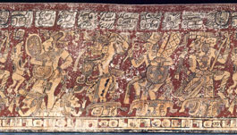 Pic 16: Late Classic Maya polychrome vase known as the Vase of Four Gods. On the left is the maize deity, rising from Sustenance Mountain, which was opened by a bolt from the lightning deities. Next are two Classic Maya Chaaks, rain and lightning deities
