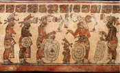 Pic 17: A dwarf depicted on a Classic Maya vase is shown playing a significant role in an apparent discussion or face-off between groups