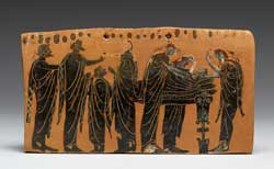 Pic 8: The lying in state of a body attended by family members, with the women ritually tearing their hair (Attica, latter 6th century BC)